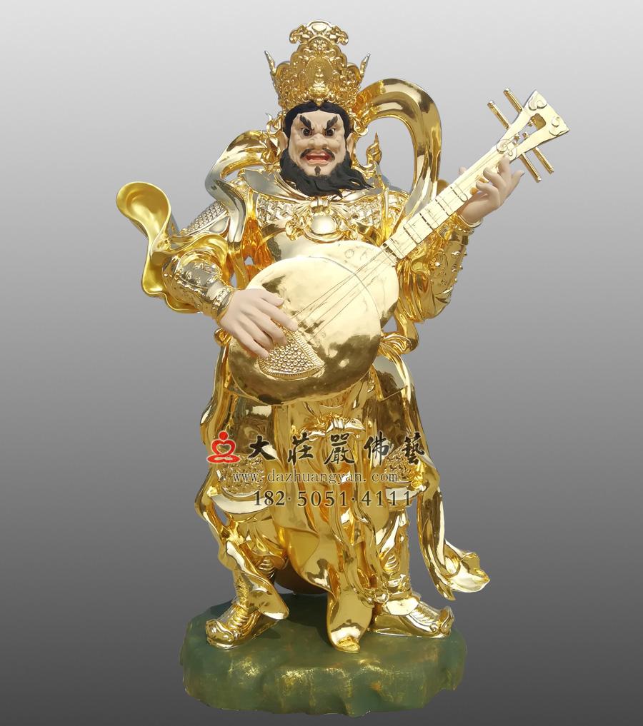 铜雕四大天王之贴金持国天王