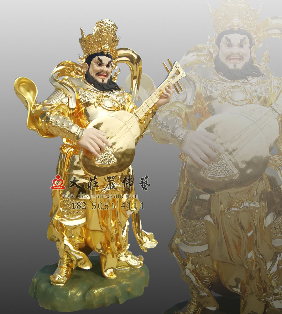 铜雕贴金四大天王之持国天王