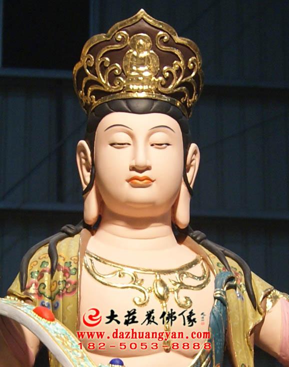 铜雕文殊菩萨彩绘正面特写
